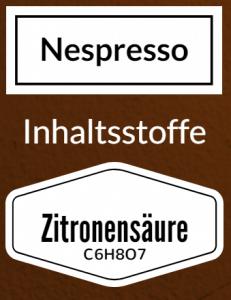 Nespresso Entkalker Inhaltsstoff Zitronensäure Milchsäure