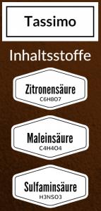 Tassimo Entkalker Inhaltsstoffe Zitronensäure Maleinsäure Sulfaminsäure